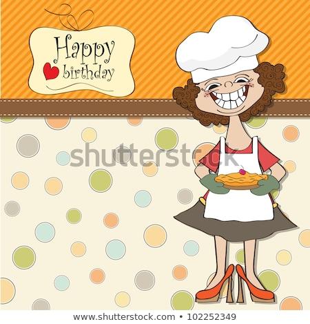Doğum günü tebrik kartı komik kadın turta sevmek Stok fotoğraf © balasoiu