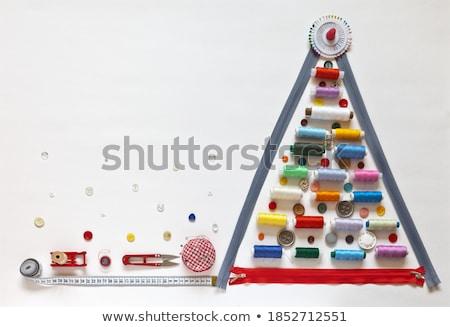Naaien kaart gekleurd draad vingerhoed collage Stockfoto © marimorena