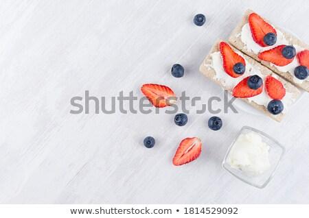 Zdjęcia stock: Krem · ser · jagody · śniadanie · mięty · odżywianie