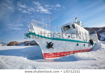 Jég jacht tél kockák tó nap Stock fotó © zastavkin