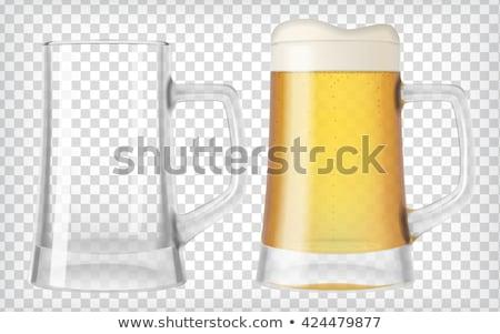 Сток-фото: Two Empty Beer Mugs On White