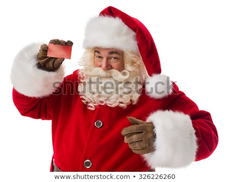 mature business man in santa claus hat is welcoming Stock photo © feedough