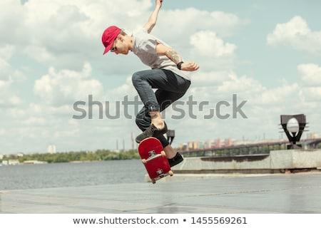 fiú · moped · járda · felhők · sport · utca - stock fotó © meinzahn