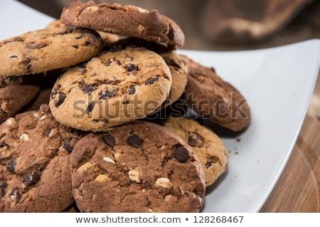 шоколадом домашний Печенье изолированный белый Сток-фото © natika