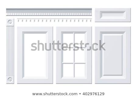 Klasszikus fehér konyhaszekrény izolált épület terv Stock fotó © vizarch