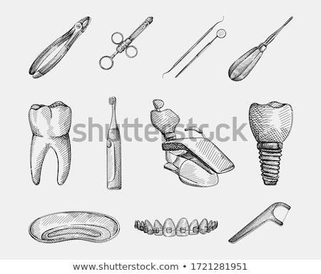 Stock photo: Sketch teeth, vector vintage background