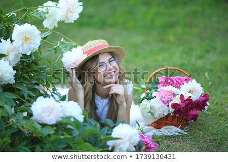 freshness happy woman with peony flower smiling stock photo © gromovataya