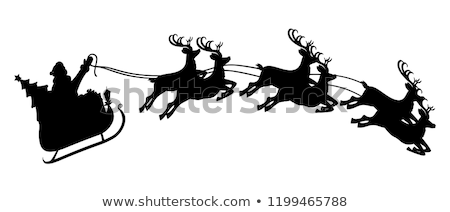 merry christmas card with santa claus and reindeer fly stock photo © carodi