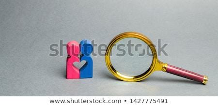 Internetu dating lupą starego papieru czerwony pionowy Zdjęcia stock © tashatuvango