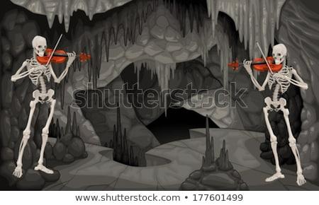 escuro · assustador · rocha · caverna · ilustração · projeto - foto stock © ddraw