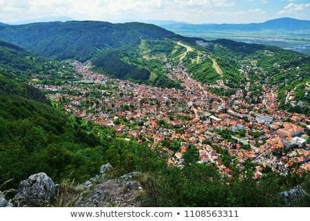 view of medieval brasov city with tampa mountain on background o stock photo © pixachi