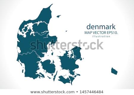 Silhouet kaart Denemarken teken witte opschrift Stockfoto © mayboro