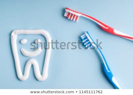Kék fogkefe fogkrém gyógyszer száj fogorvos Stock fotó © njnightsky