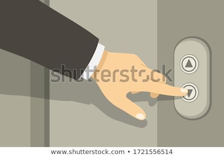 kisajtolás · megoldás · gomb · nő · kéz · kék - stock fotó © fantazista