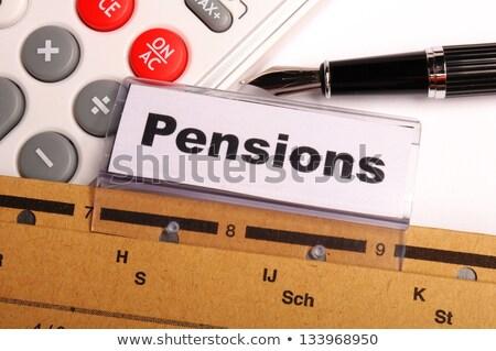 Nyugdíj szó mappa kártya szelektív fókusz idős Stock fotó © tashatuvango