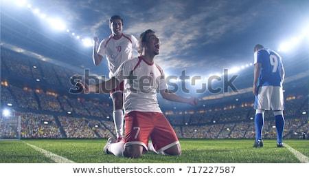 sportlich · Fußballspieler · Jubel · weiß · Fußball · blau - stock foto © wavebreak_media