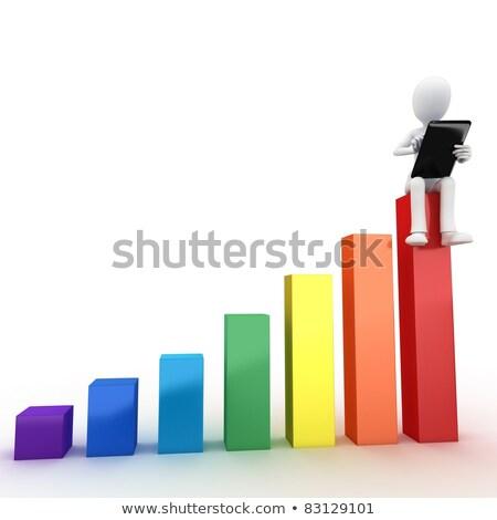 3次元の男 座って 棒グラフ 作業 白 フロント ストックフォト © nithin_abraham