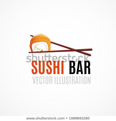 Stil daire vektör ayarlamak gıda sushi Stok fotoğraf © Anna_leni
