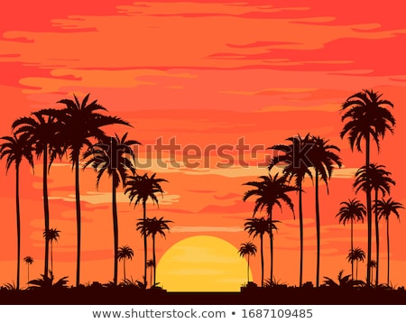 Tree silhouette at sunset. Stock photo © EvgenyBashta