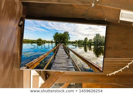 parede · tv · 3D · isolado · preto · global - foto stock © daboost