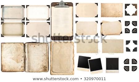 Jahrgang Fotoalbum Hände alten Buch Holz Stock foto © Avlntn