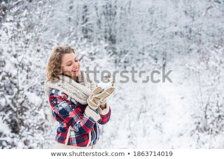 belle · femme · neige · bleu · veste · relevant · autour - photo stock © lubavnel