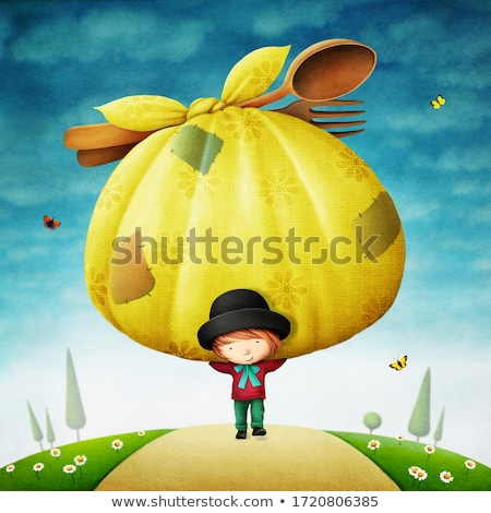 family with small bags on meadow stock photo © paha_l