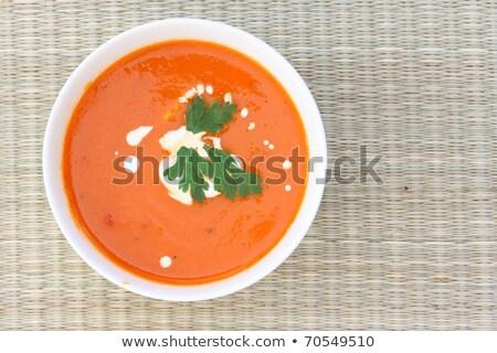 ストックフォト: 先頭 · ダウン · 表示 · ボウル · スープ · チーズ