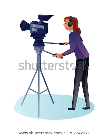 camerawoman with movie camera on tripod stock photo © rastudio