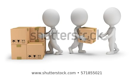3d small people   unloading cargo stock photo © anatolym