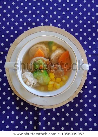 à pois bleu soupe bol doubler Photo stock © Digifoodstock