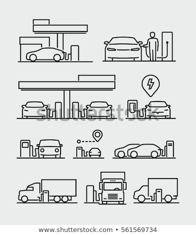 Stacja benzynowa line ikona wektora odizolowany biały Zdjęcia stock © RAStudio