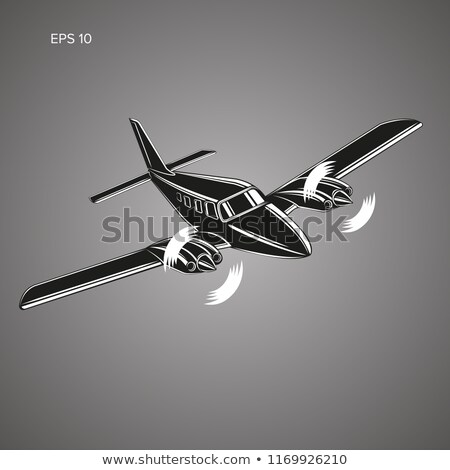 Small private twin engine airplane illustration Stock photo © jeff_hobrath