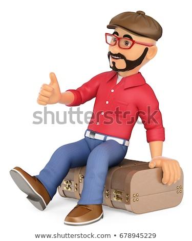 3D 代替案 男 ヴィンテージ スーツケース 若者 ストックフォト © texelart