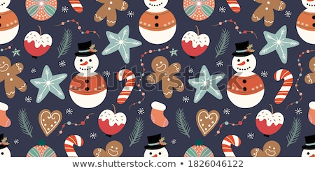 pocztówkę · śnieg · cute · snowman · śniegu · narciarskie - zdjęcia stock © homydesign