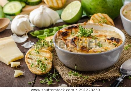 Pirított kenyér sült cékla fokhagyma pirítós Stock fotó © Digifoodstock