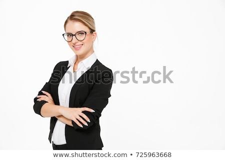 smiling blonde business woman posing with crossed arms stock photo © deandrobot
