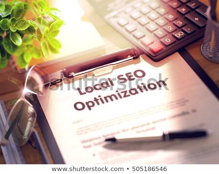 Appunti locale seo ottimizzazione 3D desk Foto d'archivio © tashatuvango