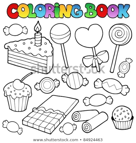 Cake coloring book. Confectionery for birthday. Sweetness for ho Stock photo © popaukropa