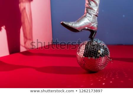 divatos · nő · pózol · ezüst · diszkógömb · gyönyörű - stock fotó © neonshot