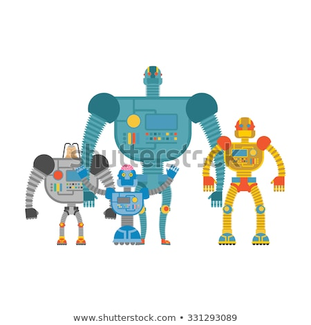 Robots Set . Space invaders Cyborgs. Iron colored robots. Stock photo © popaukropa