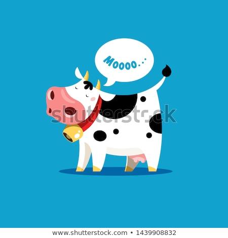 Cartoon koe voedsel gelukkig achtergrond kunst Stockfoto © doomko