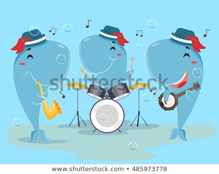 талисман кит музыку группы Cute животного Сток-фото © lenm
