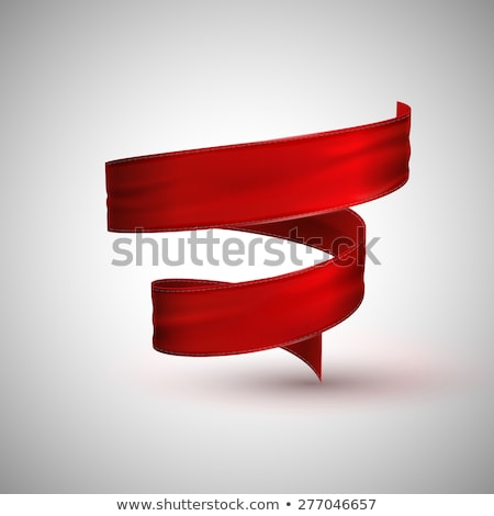 Satin red curved ribbon isolated icon Stock photo © studioworkstock