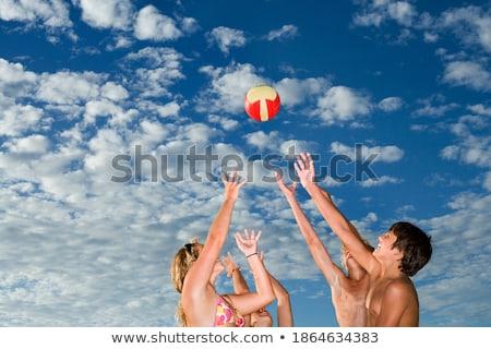 Alulról fotózva kilátás nő strandlabda nyár szabadság Stock fotó © IS2