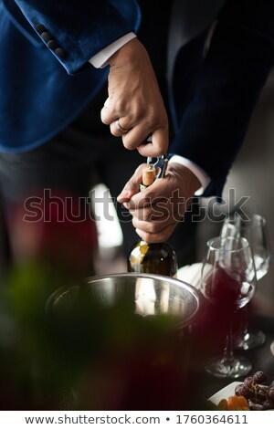 vörösbor · dugóhúzó · nyitás · üveg · vibráló · piros - stock fotó © is2