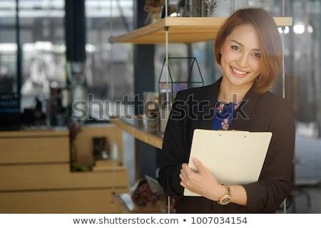asian · secrétaire · affaires · documents · tasse · de · café · mains - photo stock © studioworkstock