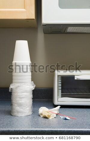 Csészék hulladék iroda konyhapult Stock fotó © IS2