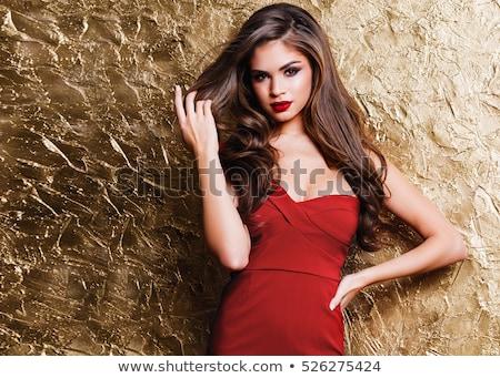 Stock fotó: Gyönyörű · fiatal · nő · piros · ajkak · hajviselet · visel · fekete · ruha