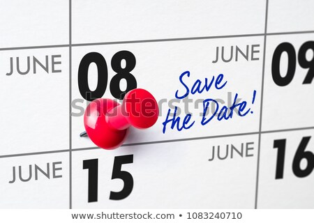 Wall calendar with a red pin - June 08 Stock photo © Zerbor